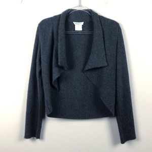 Rene Lezard 100% Cashmere Charcoal Cardigan Wrap